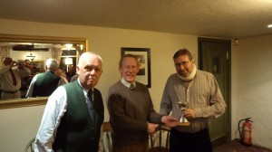 Sir John Scott (centre) presenting the Steve Smith Cup to Brian Hancox on behalf of George Ashcroft