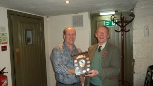 Sir John Scott presenting Ian McGeorge with Swinbourn Trophy